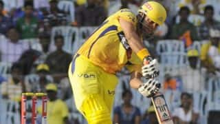 Suresh Raina on the attack for Chennai Super Kings against Royal Challengers Bangalore in IPL 2014