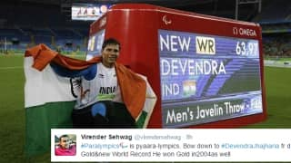 Virender Sehwag renames Paralympics after Devendra Jhajharia's Gold; other cricketers send in their wishes too