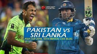 PAK 151/4 in overs 19.2 | Target 151 | Live Cricket Score Pakistan vs Sri Lanka, Asia Cup 2016 PAK vs SL, 10th T20 Match at Dhaka; Pakistan beat Sri Lanka by 6 wickets