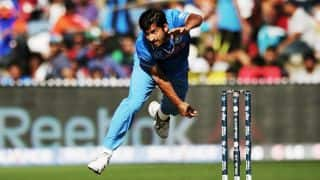 Solomon Mire dismissed for 9 by Mohit Sharma against India in ICC Cricket World Cup 2015