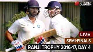 Live Cricket Score, Ranji Trophy 2016-17, Semi-Finals, Day 4: Stumps