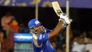 Kieron Pollard dismissed for 49 by Sreenath Arvind against Royal Challengers Bangalore in IPL 2015