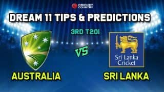 AUS vs SL Dream11 Team Australia vs Sri Lanka, 3rd T20I– Cricket Prediction Tips For Today's Match AUS vs SL at Melbourne November 1