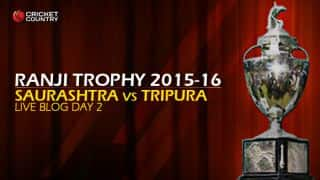 TRIPURA 11/3 (f/o) I Live Cricket Score, Saurashtra vs Tripura, Ranji Trophy 2015-16, Group C match, Day 2 at Rajkot: End of day's play