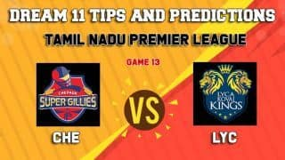 Dream11 Team Chepauk Super Gillies vs Lyca Kovai Kings Match 13 TNPL 2019 TAMIL NADU T20 – Cricket Prediction Tips For Today's T20 Match CHE vs LYC at Tirunelveli