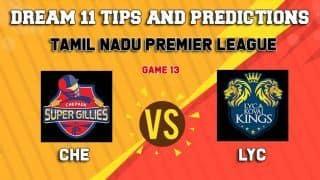 Dream11 Team Chepauk Super Gillies vs Lyca Kovai Kings Match 13 TNPL 2019 TAMIL NADU T20 – Cricket Prediction Tips For Today's T20 Match CHE vs LYC at Tirunelveli