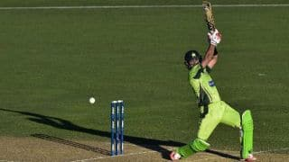 Ahmed Shehzad dismissed for 18 by Brian Vitori against Zimbabwe in 2nd T20I at Lahore