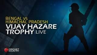BEN 219 in Overs 36.4, Live Cricket Score, Vijay Hazare Trophy 2015-16, Bengal vs Himachal Pradesh, Group D match at Kolkata: Himachal win by 89