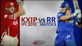 Live Cricket Score Kings XI Punjab vs Rajasthan Royals IPL 2015 Match 3: RR beat KXIP by 26 runs