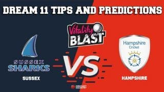 Dream11 Team Sussex vs Hampshire South Group VITALITY T20 BLAST ENGLISH T20 BLAST – Cricket Prediction Tips For Today's T20 Match SUS vs HAM at Nottingham
