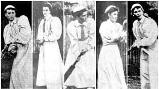 Cricket match between women, aged overweight men, and a dog