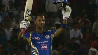 Lendl Simmons dismissed by Chennai Super Kings (CSK) against Mumbai Indians (MI) in the Eliminator of IPL 2014