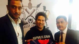 Nepal captain Paras Khadka meets Sachin Tendulkar