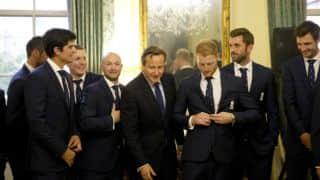 England cricket team pays visit to UK Prime Minister David Cameron