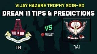 Dream11 Team Tamil Nadu vs Railways, Round 11, Elite Group C Vijay Hazare Trophy 2019 VHT ODD – Cricket Prediction Tips For Today's Match TN vs RAI at Jaipur
