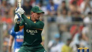 Quinton de Kock retires after scoring 56 against India in ICC World T20 2016 warm-up match at Mumbai
