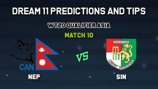 Dream11 Team Nepal vs Singapore Match 10 WORLD T20 QUALIFIER - ASIA – Cricket Prediction Tips For Today's Match NEP vs SIN at Singapore