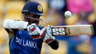 Lahiru Thirimanne dismissed for 4 against Scotland at ICC Cricket World Cup 2015