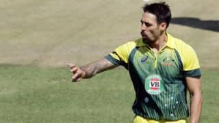 Mitchell Johnson dismissed as Australia lose eighth wicket