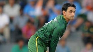 Mohammad Hafeez reported for suspect action during CLT20 2014 match between Lahore Lions and Dolphins