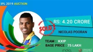 IPL Auction 2019: Nicholas Pooran fetches Rs 4.20 crore from Kings XI Punjab