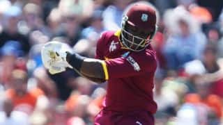 Andre Russell dismissed for 8 by Ravindra Jadeja against India in ICC Cricket World Cup 2015