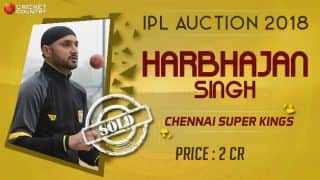 Harbhajan sold to CSK for INR 2 crores