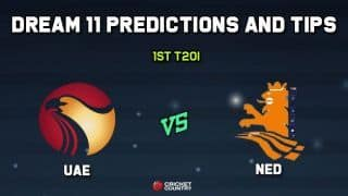 Dream11 Team UAE vs Netherlands 1st T20I – Cricket Prediction Tips For Today's T20I Match UAE vs NED at VRA Cricket Ground, Amstelveen