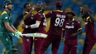 SA lose wickets in quick succession against WI