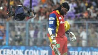 IPL 2016:Gayle's torrid form continues as he is dismissed for a duck in RCB vs DD