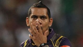 Manan Vohra dismissed for 39 by Sunil Narine against Kolkata Knight Riders in IPL 2015