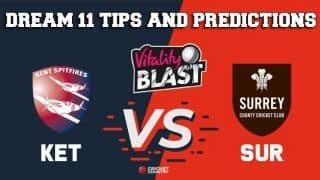 Dream11 Team Kent vs Surrey Match T20 BLAST 2019 2019 T20 Blast – Cricket Prediction Tips For Today's T20 Match KET vs SUR at Canterbury