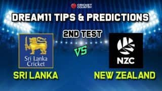Dream11 Team Sri Lanka vs New Zealand Test series 2019 – Cricket Prediction Tips For Today's Test Match SL vs NZNZ at Colombo