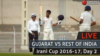 Irani Cup 2016-17, Live Cricket Score, GUJ vs ROI, Day 2: ROI trail by 157 at stumps