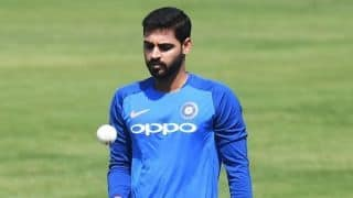 Bhuvneshwar Kumar returns to training under the watchful eyes of team physio Patrick Farhart