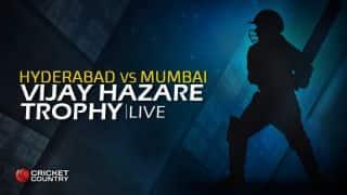 MUM 217/3 | Live Cricket Score, Vijay Hazare Trophy 2015-16, Hyderabad vs Mumbai, Group A match at Hyderabad: Mumbai thrash Hyd by 7 wickets