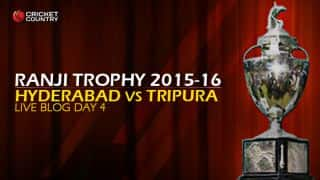 TRI 294/5 (f/o) | Live Cricket Score, Hyderabad vs Tripura, Ranji Trophy 2015-16, Group C, Day 4 at Hyderabad: Match drawn; Tripura gets 3 points