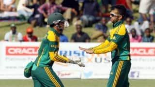Zimbabwe Triangular Series 2014, 6th match at Harare: South Africa defeat Zimbabwe by 63 runs