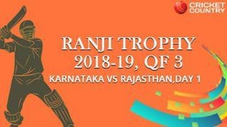 Ranji Trophy 2018-19, Quarter-final 3, Day 1: Rajasthan bowled out for 224