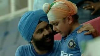 Harbhajan Singh consoles little sikh fan crying after match tie between India and Afghanistan