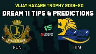 Dream11 Team Punjab vs Himachal Pradesh, Round 2, Elite Group B Vijay Hazare Trophy 2019 VHT ODD – Cricket Prediction Tips For Today's Match PUN vs HIM at Vadodara