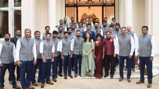 Anushka Sharma in front row of Indian team photo-op draws flak