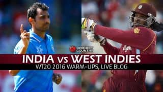 WI 140 in 19.2 overs (Target 186) | Live Cricket Score India vs West Indies, ICC World T20 2016 IND vs WI, warm-up match at Eden Gardens: India win by 45 runs