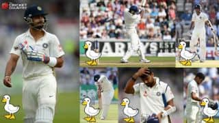 India's dismal performance against England in 4th Test at Old Trafford and six other instances of 5 or more ducks in a Test innings