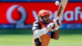 Shikhar Dhawan departs for Sunrisers Hyderabad against Kings XI Punjab in IPL 2014