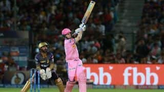 Disciplined KKR keep Rajasthan to 139/3 despite Smith fifty