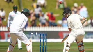 New Zealand lose 2 early wickets in pursuit of 217 set by Bangladesh at tea