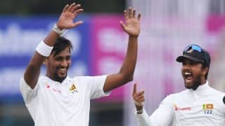 Bangladesh trail Sri Lanka by 166 at stumps: 14 wickets fall on Day 1, 2nd Test