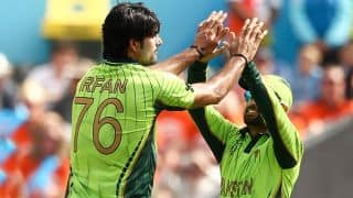 Chamu Chibhabha dismissed for nine by Mohammad Irfan against Pakistan in ICC cricket World Cup 2015