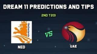 Dream11 Team UAE vs Netherlands 2nd T20I– Cricket Prediction Tips For Today's T20 Match UAE vs NED at Amstelveen